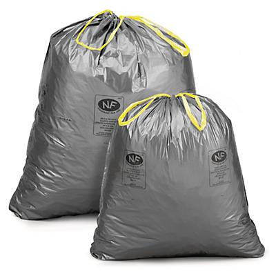 Sac déchets courants gris à liens coulissants