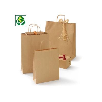 Sac kraft 100% recyclé brun à poignées torsadées
