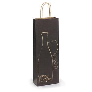 Sac kraft fantaisie pour 1 bouteille - noir et motif brun
