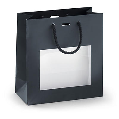 Sac mat noir avec poignées cordelières##Lackpapier-Tragetaschen mit Sichtfenster