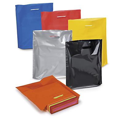 Sac plastique couleur à poignées découpées##Gekleurde plastic draagtas met gestanste handgrepen