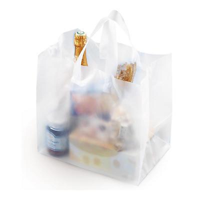 Sac plastique effet givré à poignées souples avec fond carton