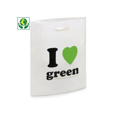 Sac plastique à poignées découpées, 80% recyclé