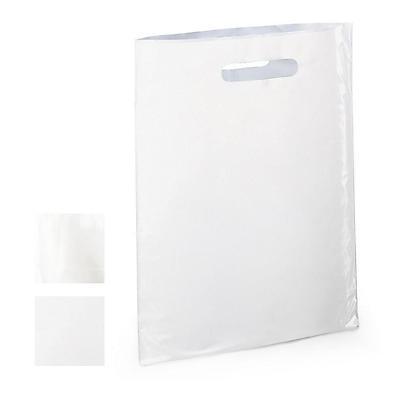 Sac plastique à poignées découpées blanc et transparent sans soufflet RAJA