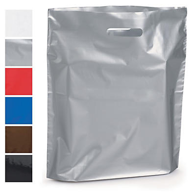 Sac plastique à poignées découpées couleur avec soufflet RAJASHOP