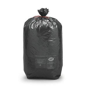Sac poubelle 100 L noir pour déchets courants en plastique recyclé 32 microns diamètre 52,2 x H.95 cm