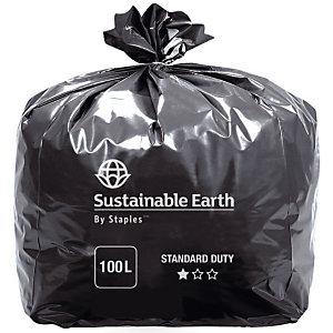 Sac poubelle 100 L noir pour déchets courants en plastique recyclé 45 microns diamètre 82 x H.87 cm (8 rouleaux de 25 sacs)