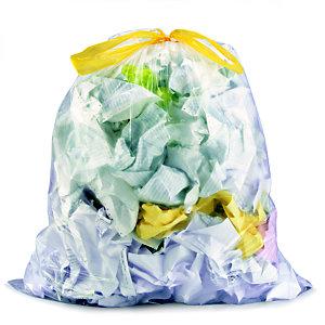 Sac poubelle 100 L transparent à liens coulissants pour tri sélectif en plastique recyclé 25 microns - diamètre 52.2 x H.90 cm