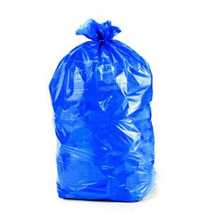 Sac poubelle 110 L bleu pour tri sélectif en plastique recyclé 36 microns - diamètre 44.6 x H.110 cm