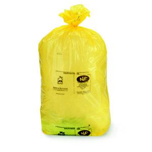 Sac poubelle 110 L jaune pour tri sélectif en plastique recyclé 36 microns - diamètre 44.6 x H.110 cm