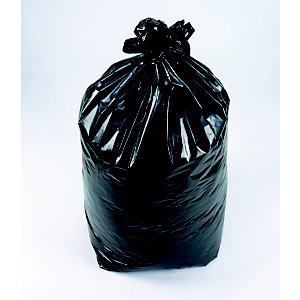 Sac poubelle 110 L noir pour déchets courants en plastique recyclé 36 microns diamètre 44,6 x H.110 cm
