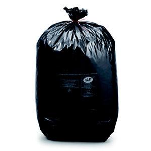 Sac poubelle 130 L noir pour déchets courants en plastique recyclé 38 microns diamètre 52,2 x H.120 cm