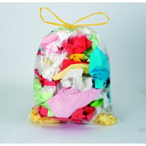 Sac poubelle 30 L transparent à liens coulissants pour tri sélectif en plastique recyclé 21 microns -  diamètre 31.8 x H.65 cm