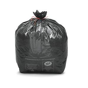 Sac poubelle 50 L noir pour déchets courants en plastique recyclé 22 microns diamètre 43,3 x H.80 cm