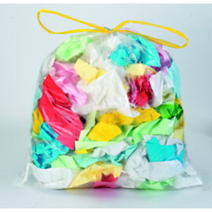 Sac poubelle 50 L transparent à liens coulissants pour tri sélectif en plastique recyclé 20 microns -  diamètre 31.8 x H.75 cm