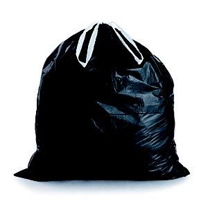 Sac poubelle à poignées coulissantes 100 L noir pour déchets courants en plastique recyclé 32 microns ø 82 x H.87 cm (4 rouleaux de 25 sacs)