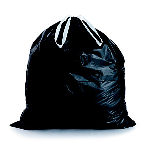 Sac poubelle à poignées coulissantes 50 L noir pour déchets courants en plastique recyclé 28 microns l.69,5 x H.75 cm