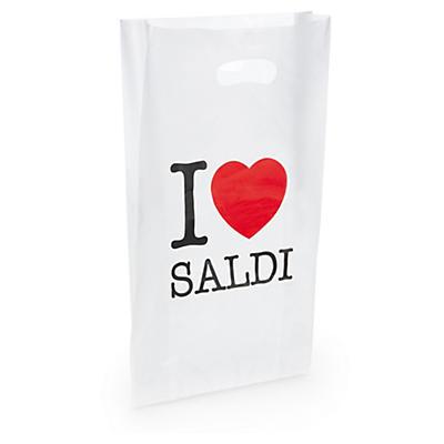 """Sacchetti in plastica con manico a fagiolo e stampa """"I love saldi"""""""