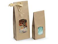 Sacchetto regalo in carta con finestra e soffietti