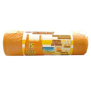 Sacchi extraforti con maniglie profumati - Colore arancio - Profumazione floreale 30 litri - F.to 52 x 65 cm - Spessore 12 micron (confezione 15 pezzi)