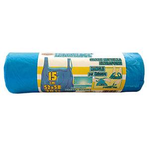 Sacchi extraforti con maniglie profumati - Colore azzurro - Profumazione brezza marina 30 litri - F.to 52 x 65 cm - Spessore 12 micron (confezione 15 pezzi)