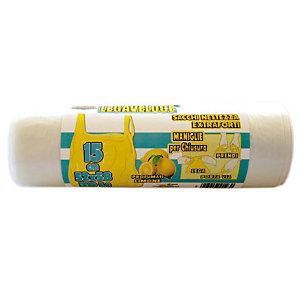 Sacchi extraforti con maniglie profumati - Colore neutro - Profumazione limone - 30 litri - F.to 52 x 65 cm - Spessore 12 micron (confezione 15 pezzi)