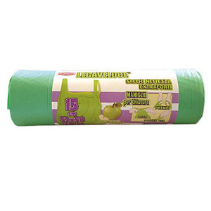 Sacchi extraforti con maniglie profumati - Colore verde - Profumazione mela verde - 30 litri - F.to 52 x 65 cm - Spessore 12 micron (confezione 15 pezzi)