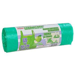 Sacchi extraforti con maniglie profumati - Colore verde - Profumazione mela verde - 40 litri - F.to 55 x 75 cm - Spessore 12 micron (confezione 15 pezzi)