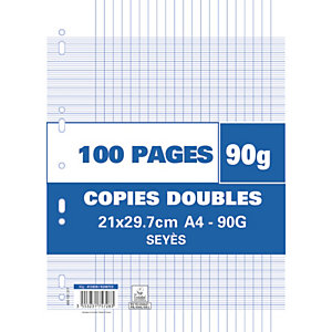 AUTRE Sachet de 100 pages copies doubles A4 grands carreaux 90g perforées