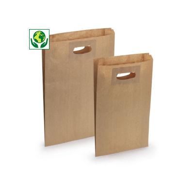 Sachet kraft brun à poignées découpées