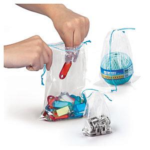 Sachet plastique 50% recyclé transparent à cordelettes