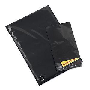 Sachet plastique 75% recyclé noir opaque à fermeture adhésive