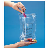 Sachet plastique liassé transparent avec message sécurité enfants à fermeture adhésive