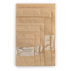Sachet plastique zip kraft avec fenêtre transparente à soudures étanches