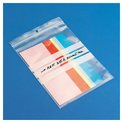 Sachet plastique zip transparent à bandes blanches 50 microns _ Destockage