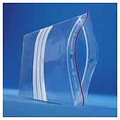 Sachet plastique zip transparent à bandes blanches 60 microns RAJAGRIP
