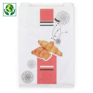 Sachet à viennoiserie en papier imprimé blanc