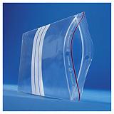 Saco de plástico com fecho zip e barras brancas 60 mícrones RAJA super