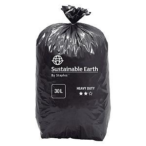 Sacs poubelle recyclés à usage intensif 30 L épaisseur 45microns 440x680mm noir - Rouleau de 25sacs (8 rouleaux de 25 sacs)
