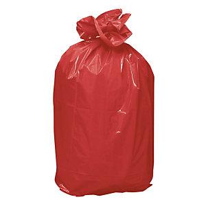 Sacs poubelles rouge 110 L, lot de 100