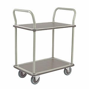 Safetool Chariot de manutention  2 plateaux, charges lourdes 250 kg