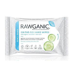 Salviette detergenti per mani Rawganic® Bio in cotone biologico biodegradabile (confezione 15 pezzi)