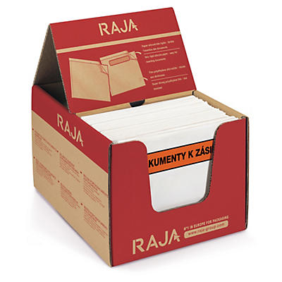 Samolepicí obal na doprovodnou dokumentaci RAJA, s potiskem