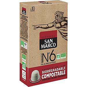 SAN MARCO Capsule de café bio  pour machine Nespresso - Intensité n°6 - Paquet 10 capsules compostables