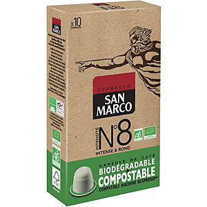 SAN MARCO Capsule de café bio  pour machine Nespresso - Intensité n°8 - Paquet 10 capsules compostables