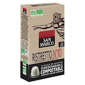 SAN MARCO Capsule de café bio  pour machine Nespresso - Ristretto Intensité n°10 - Paquet 10 capsules compostables
