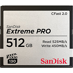 Sandisk Extreme Pro 512GB, 512 Go, CFast 2.0, 525 Mo/s, 450 Mo/s, Noir, Gris SDCFSP-512G-G46D