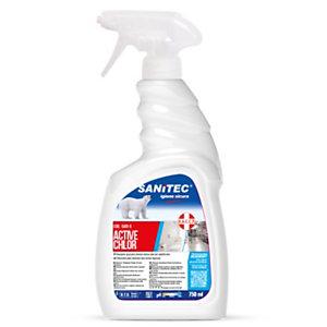 SANITEC Active Chlor Detergente spray profumato con cloro attivo, Flacone spray 750 ml