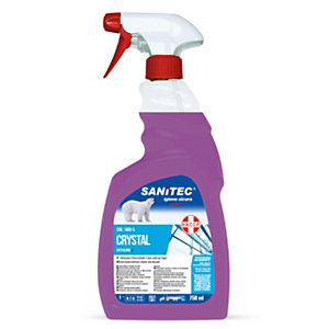 SANITEC Crystal Vetri Antigoccia per vetri e specchi, Flacone spray 750 ml