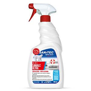 SANITEC Detergente idroalcolico ad alta concentrazione non profumato SANIALC ULTRA, Flacone spray 750 ml